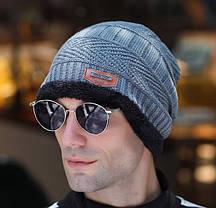 Стильный мужская зимняя шапка, фото 2