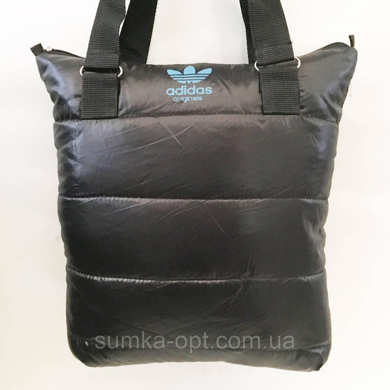 Дутые СПОРТИВНЫЕ сумки под пуховик Adidas (ЧЕРНЫЙ-ГОЛУБОЙ)34*35см