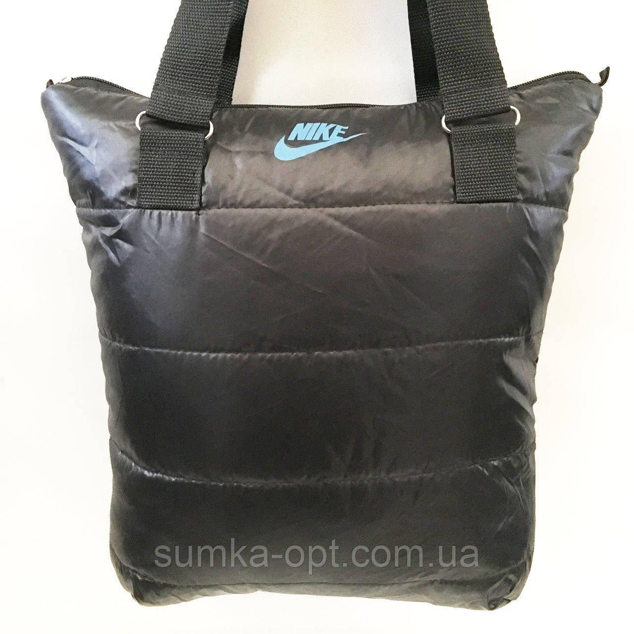 Дутые СПОРТИВНЫЕ сумки под пуховик Nike (ЧЕРНЫЙ-ГОЛУБОЙ)34*35см