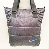 Дутые СПОРТИВНЫЕ сумки под пуховик Nike (ЧЕРНЫЙ-ГОЛУБОЙ)34*35см, фото 8