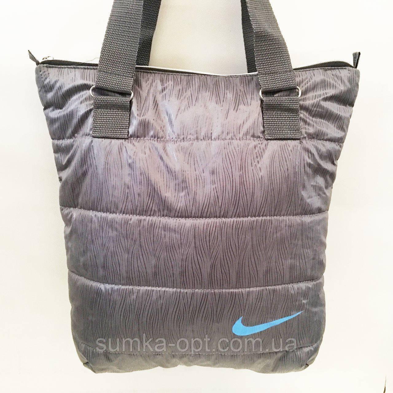 Дутые СПОРТИВНЫЕ сумки под пуховик Nike (СЕРЫЙ-ГОЛУБОЙ)34*35см