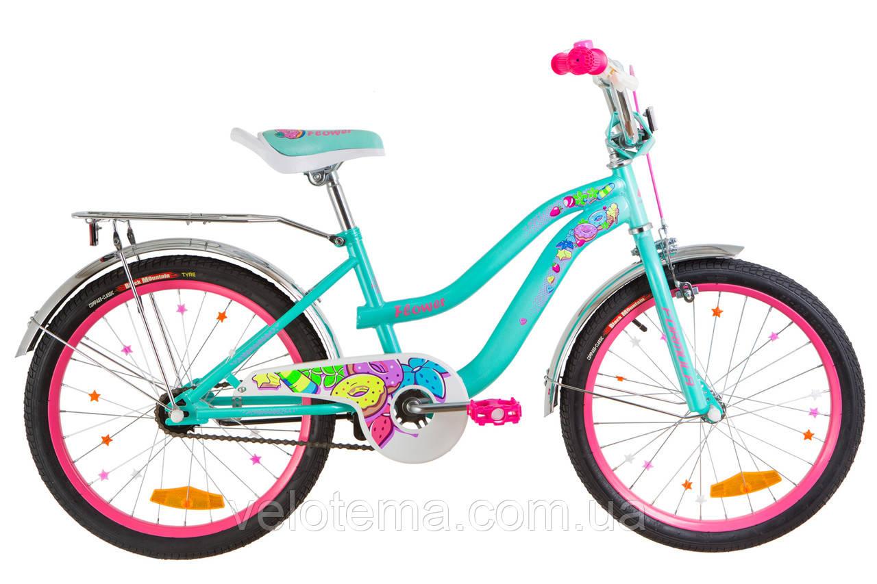 """Велосипед 20"""" Formula FLOWER  14G    рама-13"""" St бирюзовый  с багажником зад St, с крылом St 2019"""