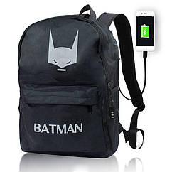 Рюкзак світиться в темряві   Люмінесцентний ефект Бетмен Senkey Style   Рюкзак Бетмен USB + замок