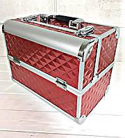 Кейс для косметики красный (3D ромб)