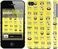 """Чехол на iPhone 4 Губка Боб. Мордашки """"2346c-15"""""""
