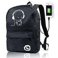 Светящийся городской рюкзак Музыка Music Kid с usb зарядкой + замок 35 л Чёрный