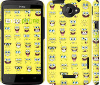 """Чехол на HTC One X Губка Боб. Мордашки """"2346c-42"""""""