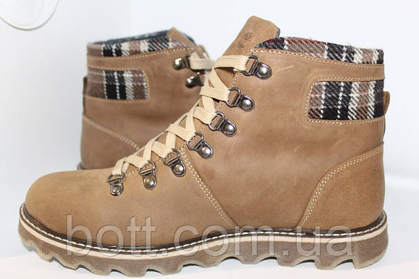 Фисташковые кожаные ботинки зимние, фото 2