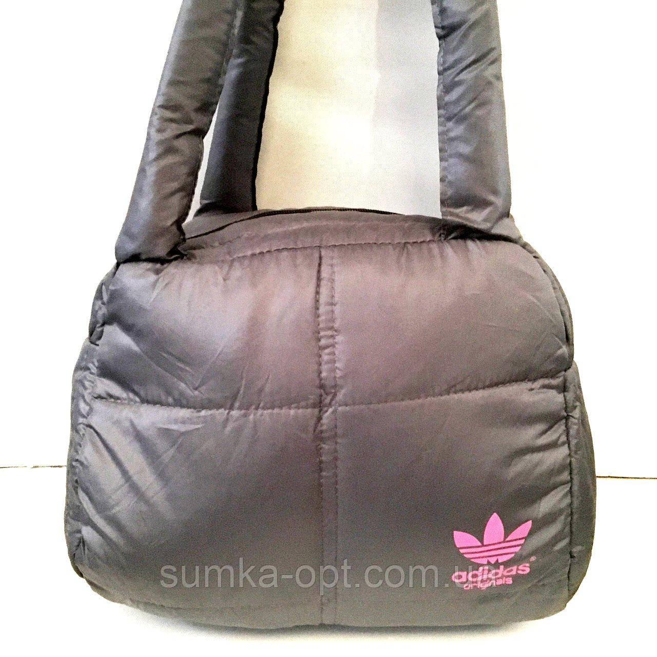 Дутые СПОРТИВНЫЕ сумки под пуховик Adidas МАЛ (СЕРЫЙ-РОЗОВЫЙ)25*28см
