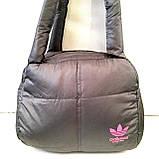Дутые СПОРТИВНЫЕ сумки под пуховик Adidas МАЛ (СЕРЫЙ-САЛАТОВЫЙ)25*28см, фото 2