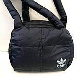 Дутые СПОРТИВНЫЕ сумки под пуховик Adidas МАЛ (СЕРЫЙ-САЛАТОВЫЙ)25*28см, фото 5