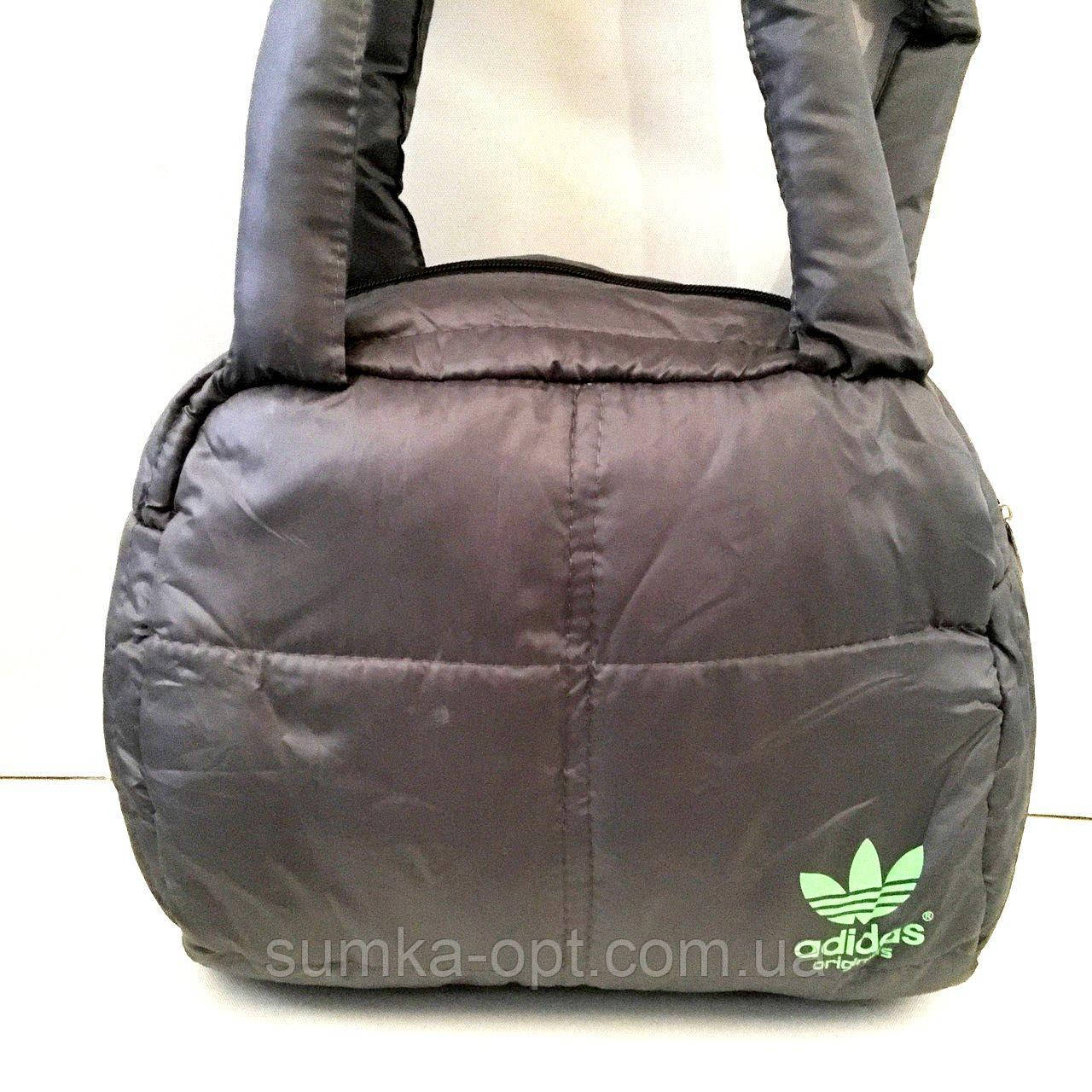 Дутые СПОРТИВНЫЕ сумки под пуховик Adidas МАЛ (СЕРЫЙ-САЛАТОВЫЙ)25*28см