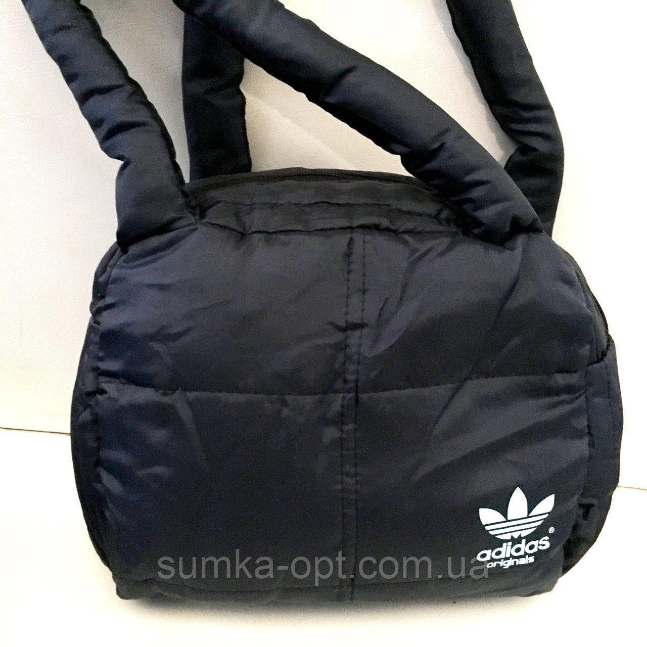 Дутые СПОРТИВНЫЕ сумки под пуховик Adidas МАЛ (ЧЕРНЫЙ-БЕЛ)25*28см