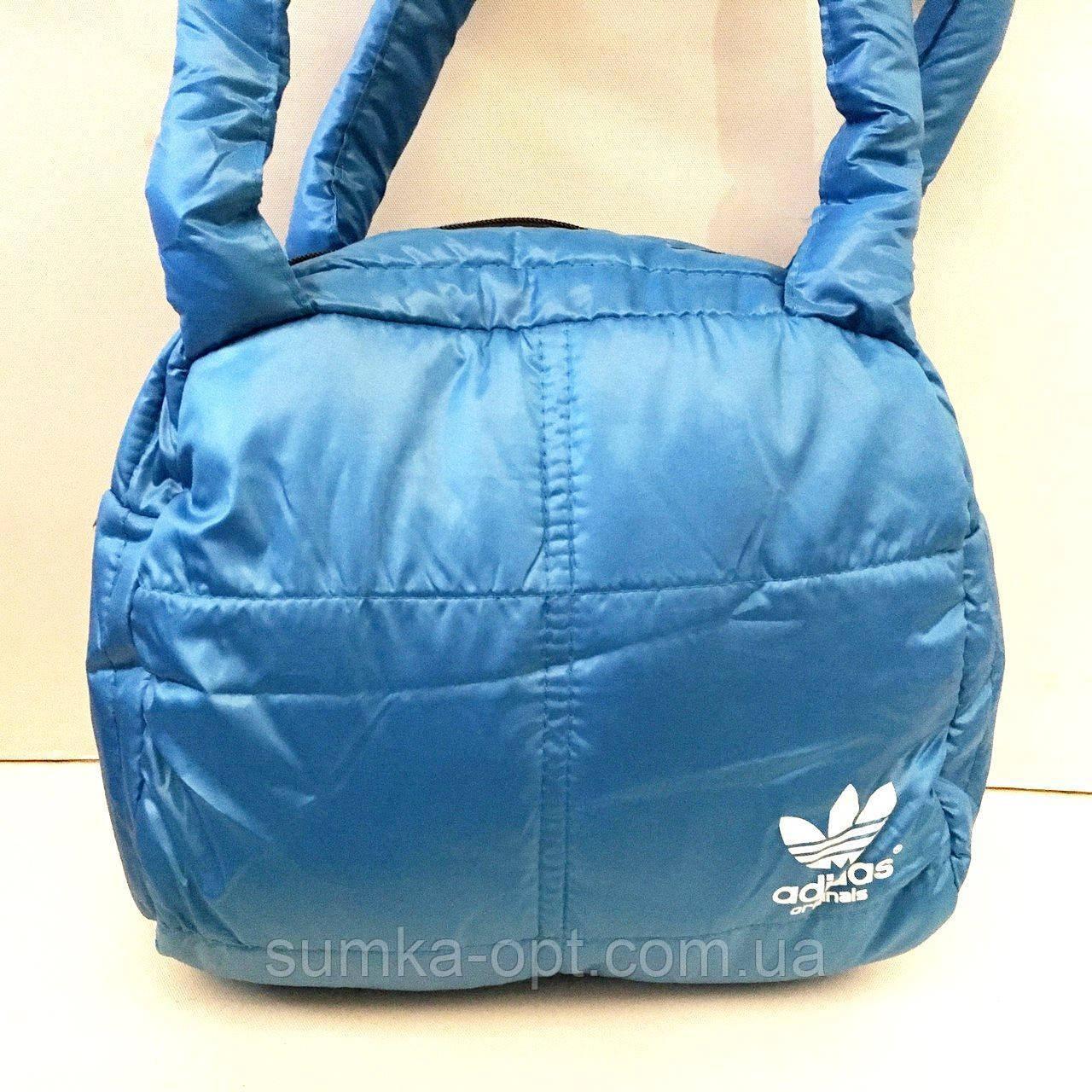 Дутые СПОРТИВНЫЕ сумки под пуховик Adidas МАЛ (ГОЛУБОЙ-БЕЛ)25*28см