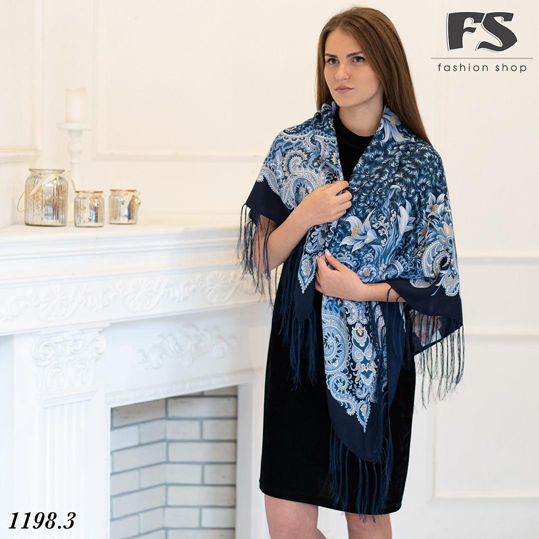 Тёмно-синий павлопосадский шерстяной платок Лилия