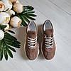 Женские кроссовки из натуральной замши бежевого цвета, фото 8