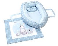 Кокон-гнездышко с одеялком Veres Summer Bunny blue, фото 1