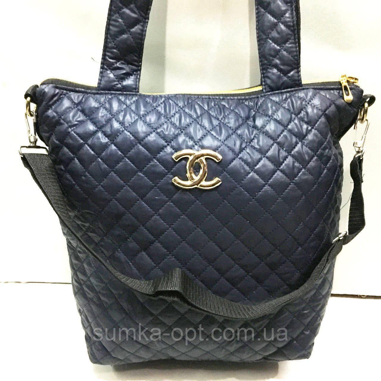 Женские стеганные сумки Chanel (СИНИЙ-ЗОЛОТО)32*34см