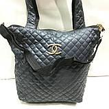 Женские стеганные сумки Chanel (СИНИЙ-ЗОЛОТО)32*34см, фото 9