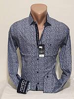 Рубашка мужская с длинным рукавом Pierrini  vd-0105 синяя приталенная в узор стрейч коттон Турция