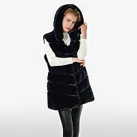 R&F2019 Стильная женская жилетка из эко меха чёрная