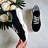 Женские кроссовки из натуральной замши черного  цвета, фото 8