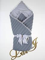 """Конверт-одеяло """"Змейка"""" на выписку, в коляску/кроватку для новорожденного. Серый"""