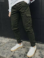 Брюки теплые мужские Staff cargo dark TS fleece \ штаны на флисе хаки