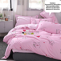 Евро комплект постельного белья ( 220 х 240 ) Милые свинки ( 4 наволочки )