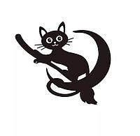 Наклейка Черный кот на метле, фото 1
