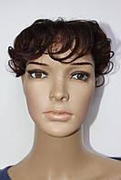 Накладка на волосы из натуральных волос с челкой каштановый