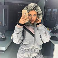 Женский зимний лыжный комбинезон, серого цвета