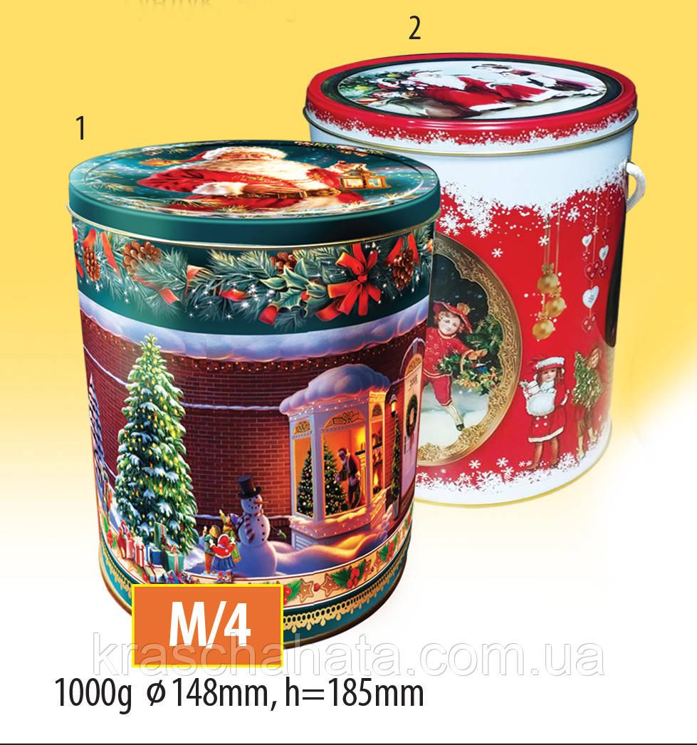 Новогодняя коробка с крышкой из жести,14,8х18,5 см, Рождество, Новогодняя упаковка, Днепр