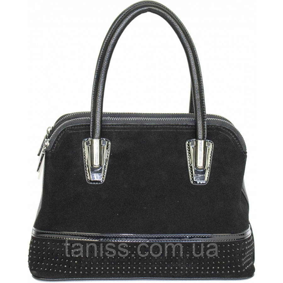 Стильная,женская ,небольшая сумочка,материал экокожа,лак и замш, 2 ручки,3 отделения (23261 )
