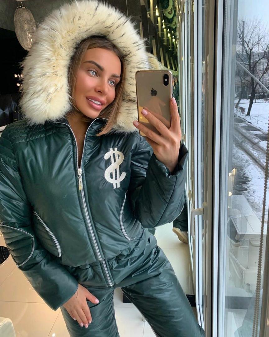 Женский зимний лыжный комбинезон, бутылочный цвет