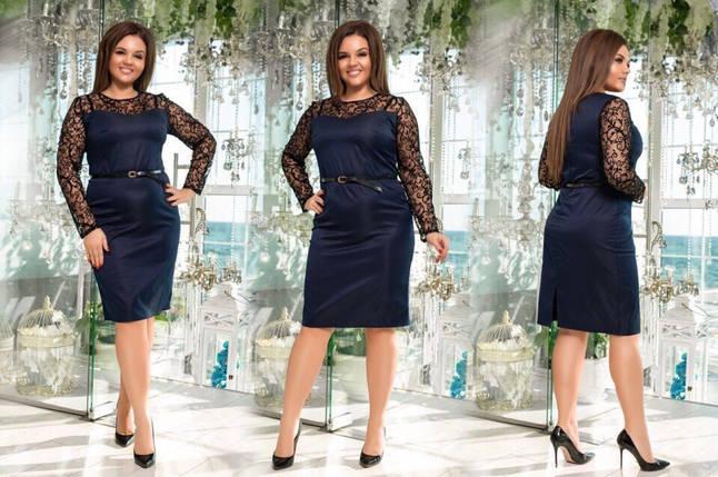 """Изысканное нарядное женское платье ткань """"Коттон"""" с напылением бархата 48, 52, 54 размер батал, фото 2"""