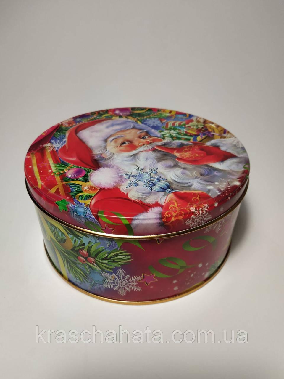 Новогодняя коробка с крышкой из жести, D14,8х7 см, Морозко, Новогодняя упаковка, Днепр