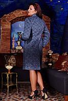 Женское демисезонное пальто 50-60 синее В - 665 Liko