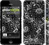 """Чехол на iPhone 5 Чёрно-белая хохлома """"1092c-18"""""""