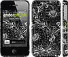 """Чехол на iPhone 4s Чёрно-белая хохлома """"1092c-12"""""""