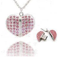 Флешка сердце ангела розовое с цепочкой. Подарок на 8 марта, 14 февраля. 8-16-32 Gb