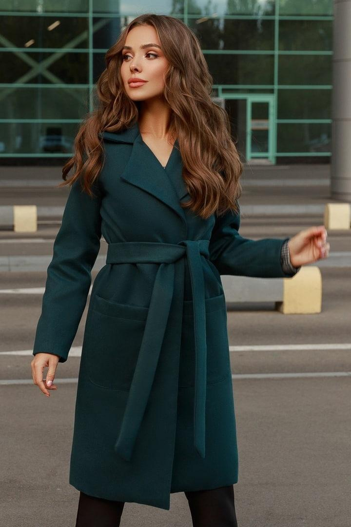 Женское кашемировое пальто с поясом и карманами