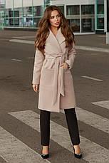 Женское кашемировое пальто с поясом и карманами, фото 2