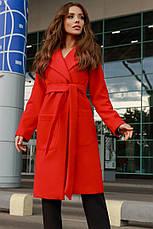 Женское кашемировое пальто с поясом и карманами, фото 3