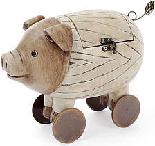 Шкатулка-статуэтка  Свинка на колесах  25.5х13.5х19см