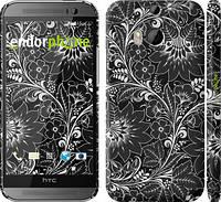 """Чехол на HTC One M8 dual sim Чёрно-белая хохлома """"1092c-55"""""""