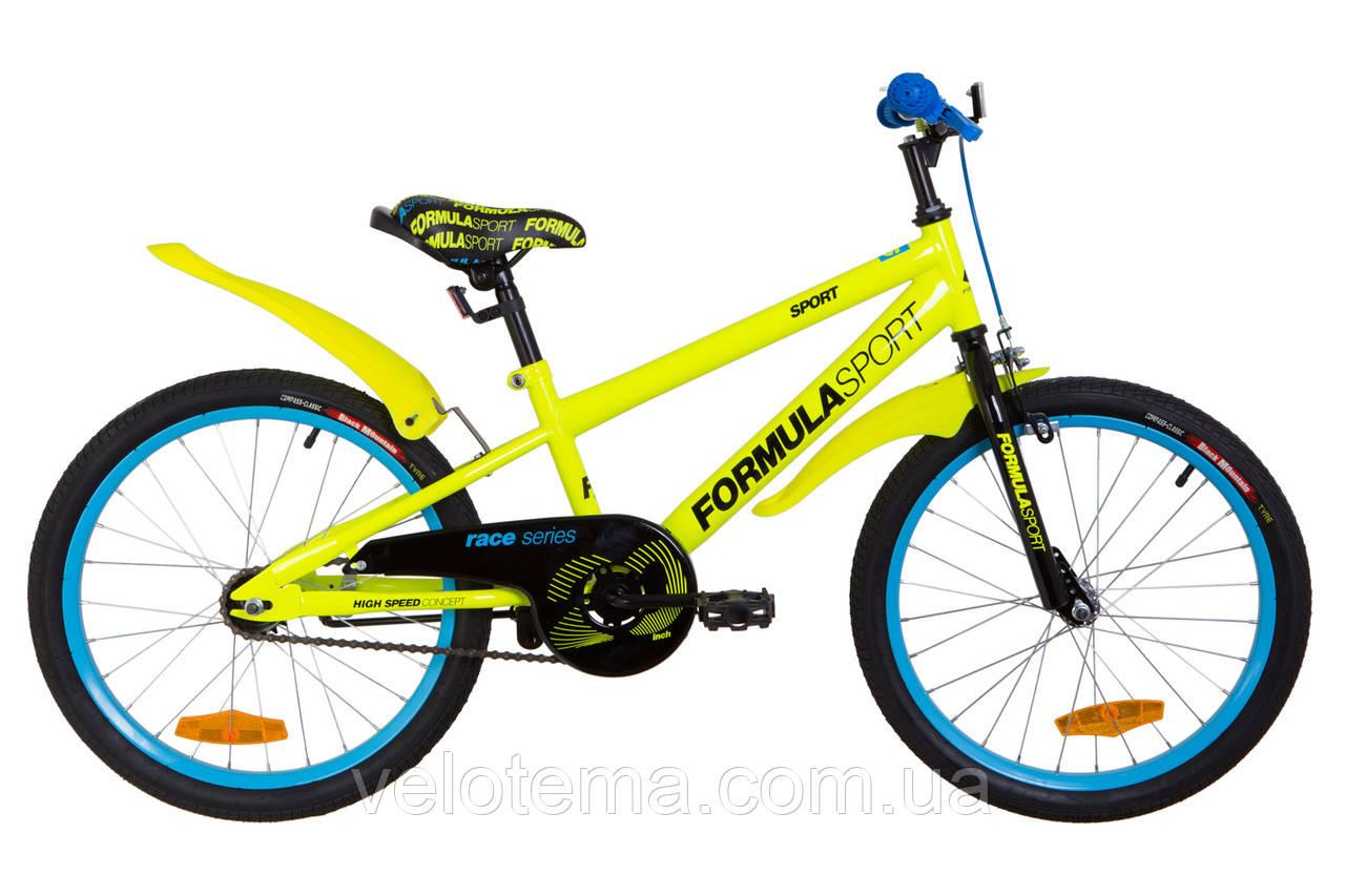 """Велосипед 20"""" Formula SPORT 14G рама-10,5"""" St жовтий з крилом"""