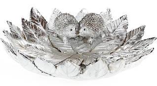 Декоративное блюдо  Ежики на серебристой листве  Ø25см