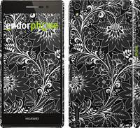 "Чехол на Huawei Ascend P7 Чёрно-белая хохлома ""1092c-49"""