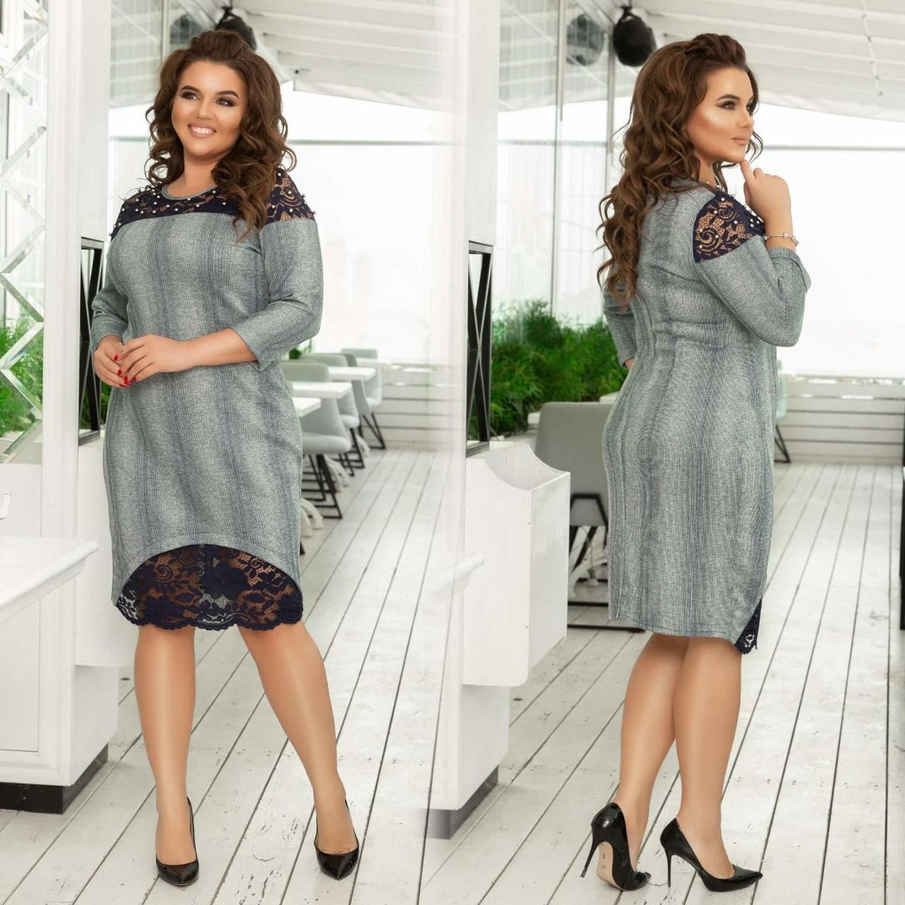 """Шикарное женское платье ткань """"Трикотаж с добавлением люрексной нити"""" 48, 50, 58 размер батал"""